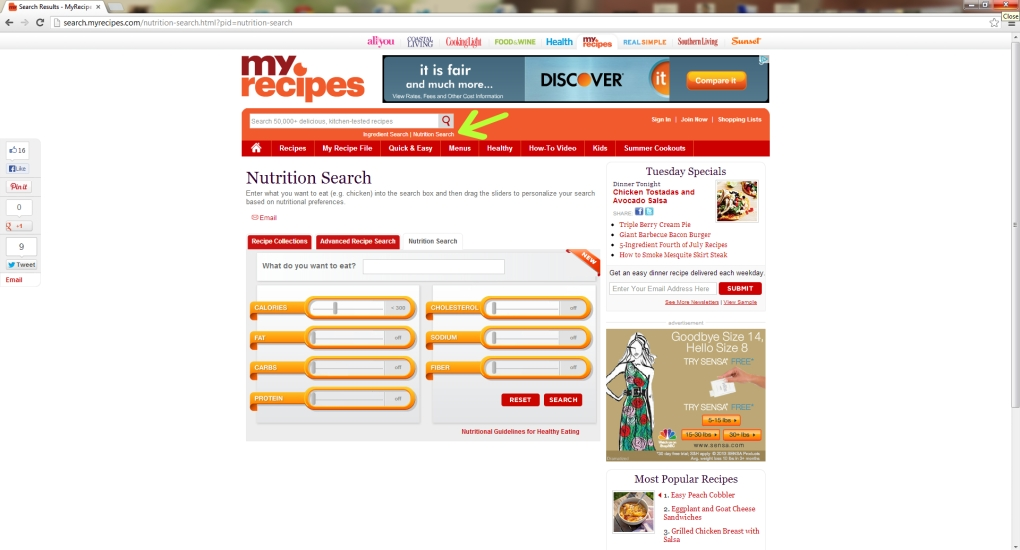 myrecipes search