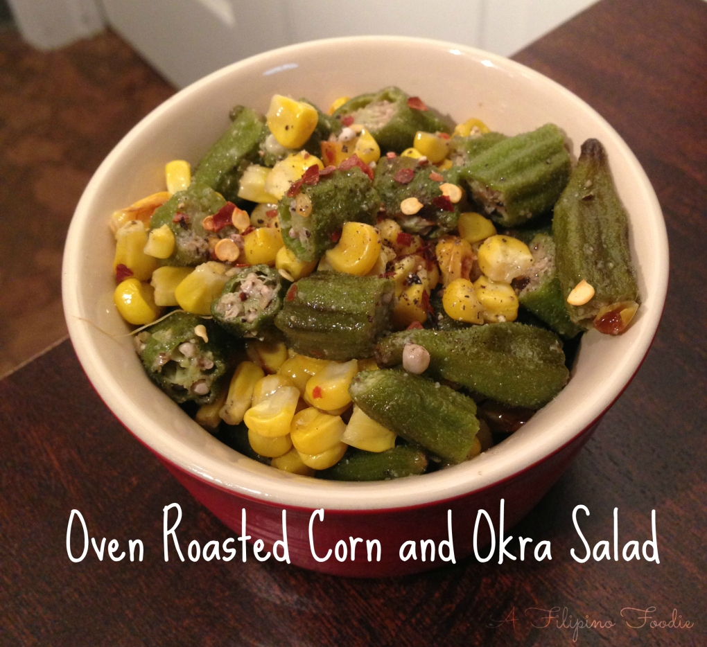 oven roasted corn and okra salad