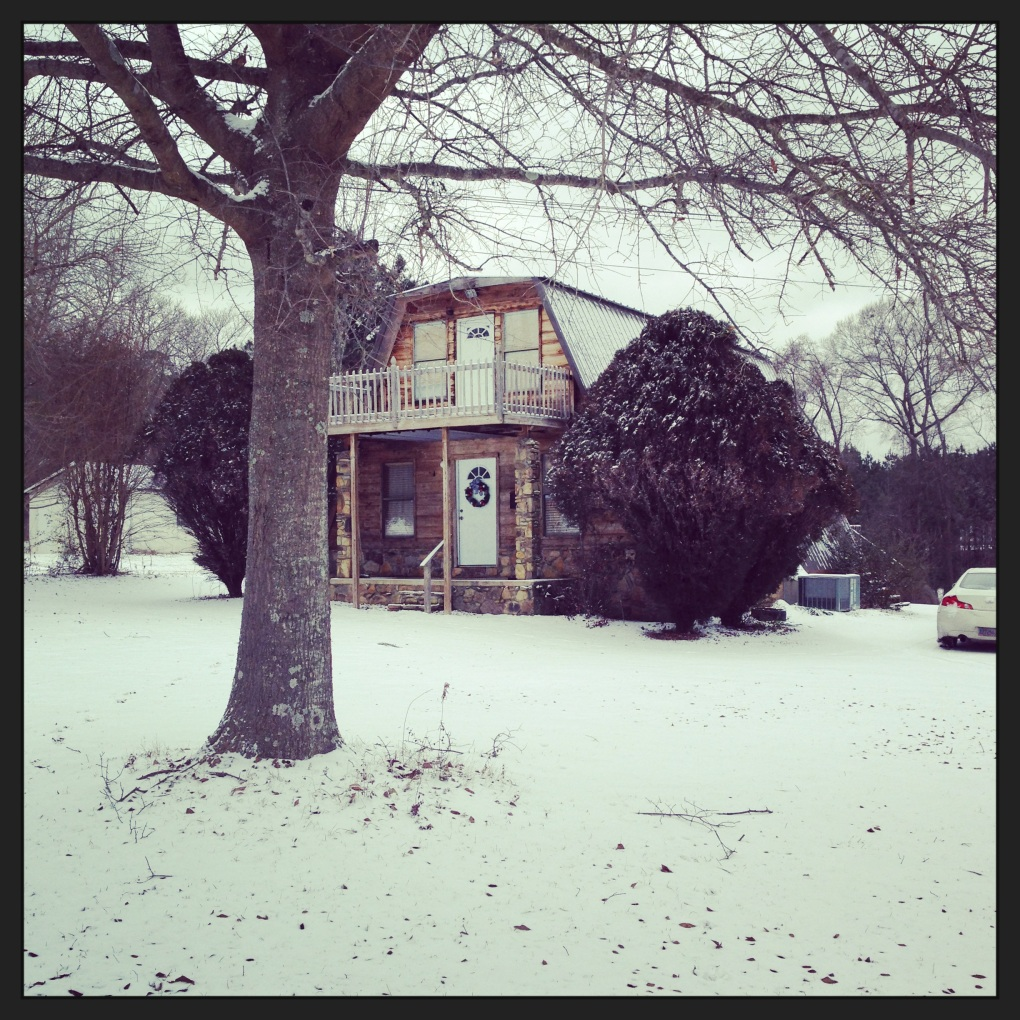 Our humble abode during the first day of snow on January 28th in Tuscaloosa, AL